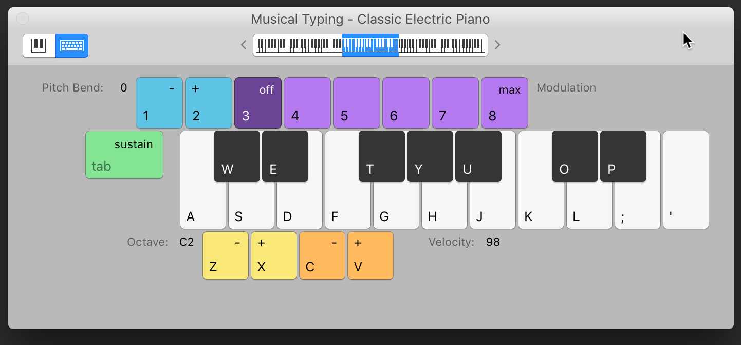 how to use keyboard for midi in garageband