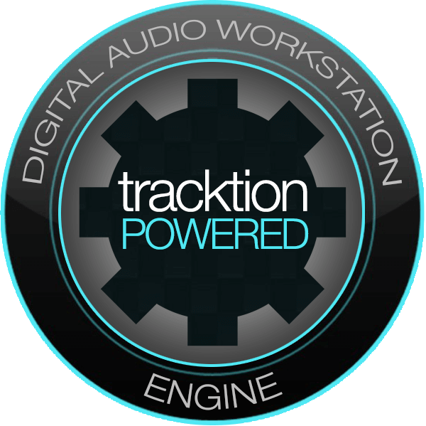 Logo for Tracktion, with 'Digital Audio Workstation Engine' written around the outside