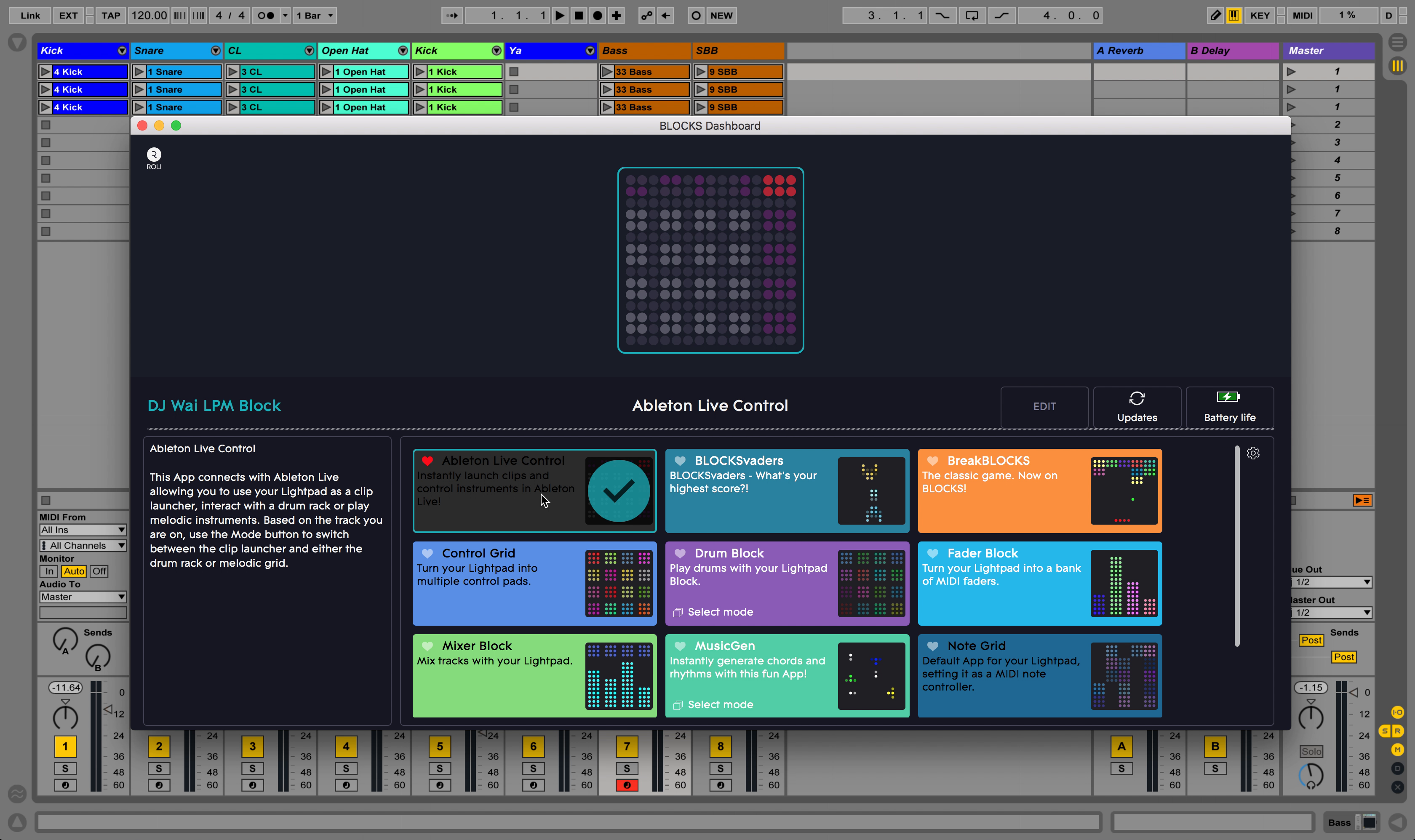 BLOCKS Dashboard with Ableton Live